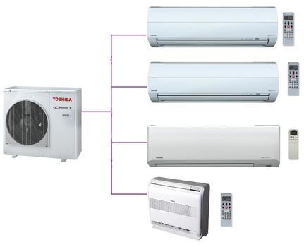 Hệ thống Multi Toshiba 4 phòng ngủ 2 Chiều Inverter Gas R410a