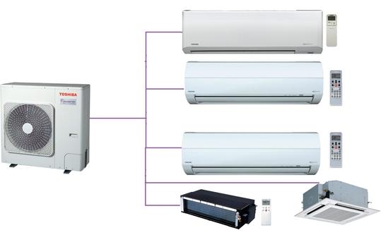 Hệ thống Multi Toshiba 5 phòng ngủ 2 Chiều Inverter Gas R410a